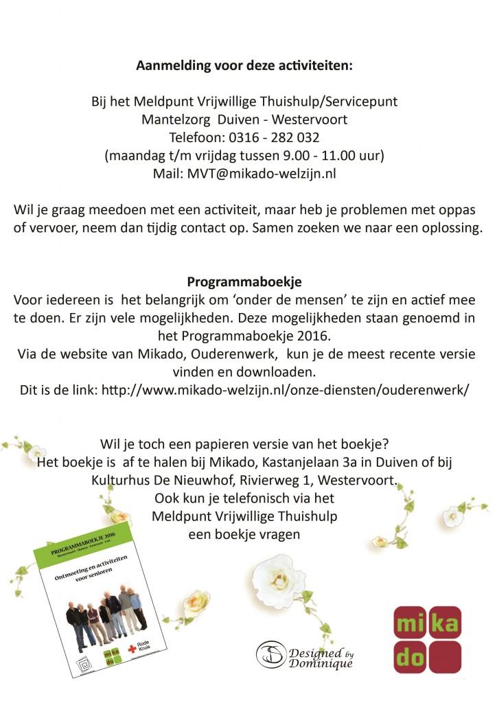 achterzijde Activiteitenprogramma, voorjaar 2016